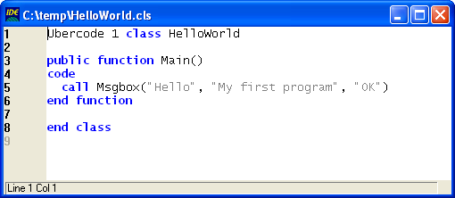 Hello World Program in the text editor